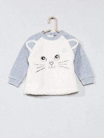 Camiseta con adorno de gato - Kiabi