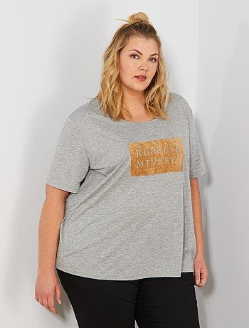 da8f4ce527 Tallas grandes mujer - Camiseta con adorno de terciopelo - Kiabi