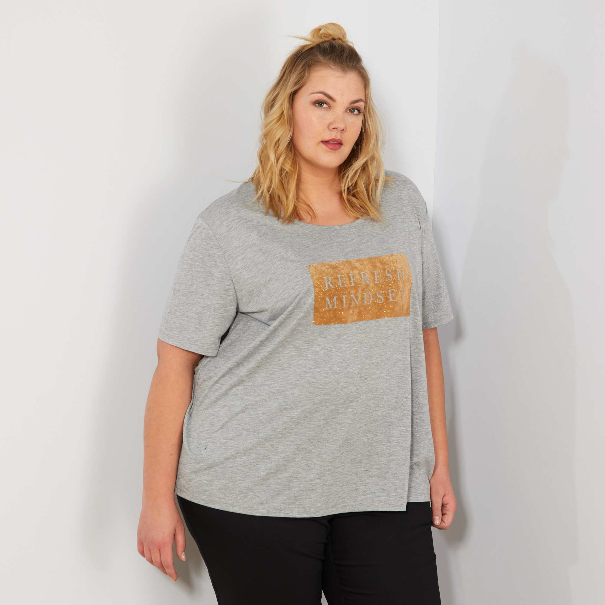 Camiseta Adorno Gris Grandes De Mujer Con Terciopelo Tallas wHpqUFxgwr