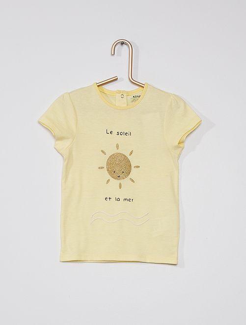 Camiseta con adorno 'eco-concepción'                                                                                                     AMARILLO