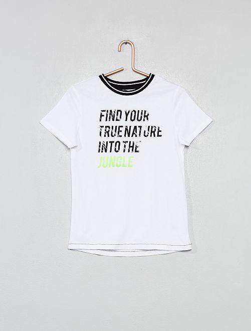Camiseta con adorno gráfico                                         BLANCO Chico