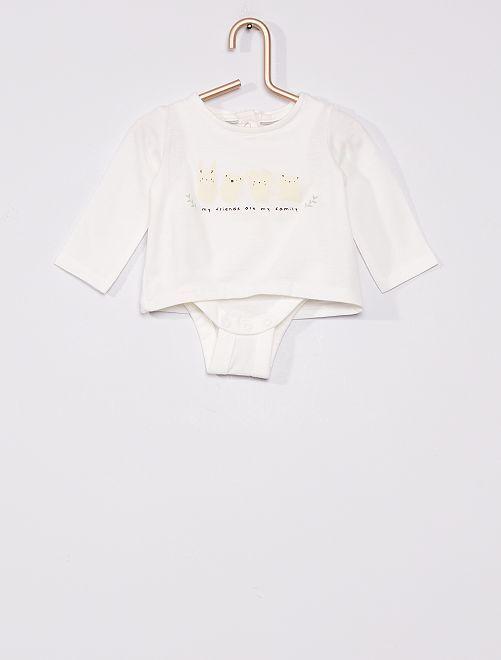 Camiseta con body eco-concepción                                         BLANCO
