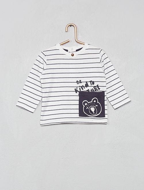 Camiseta con bolsillo con estampado de 'oso'                                                     AZUL