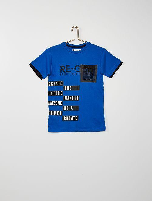 Camiseta con bolsillo de rejilla                             azul