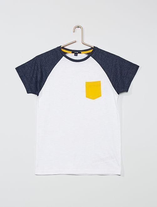 Camiseta con bolsillo en el pecho                             BLANCO