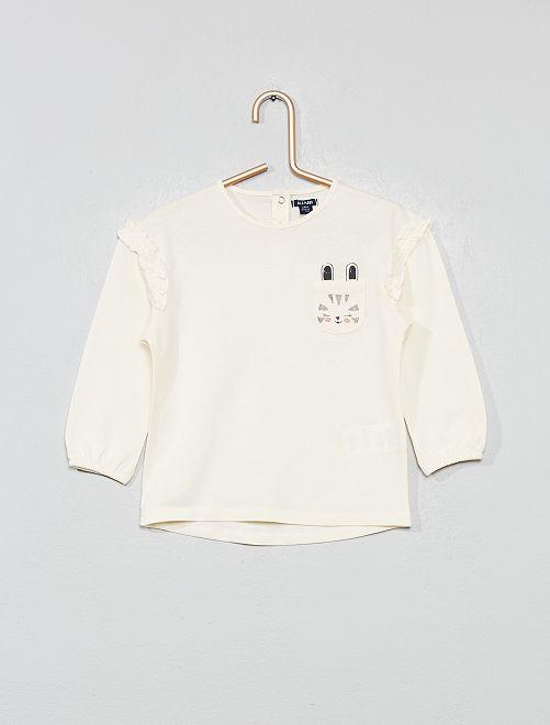 Camiseta con bolsillo en el pecho 'conejo'                                                     BLANCO Bebé niña