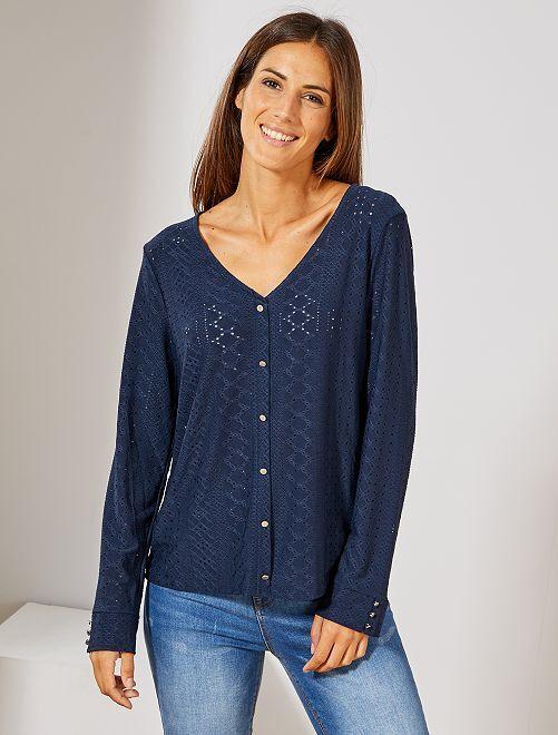 Camiseta con bordado de fantasía                                                                 azul