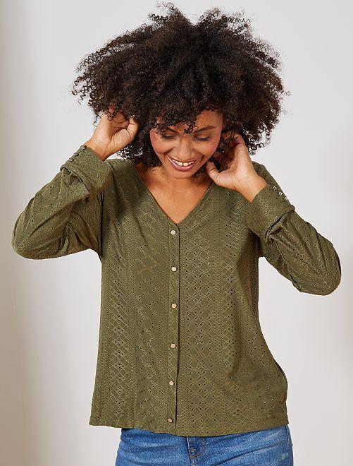 Camiseta con bordado de fantasía                                                                 KAKI