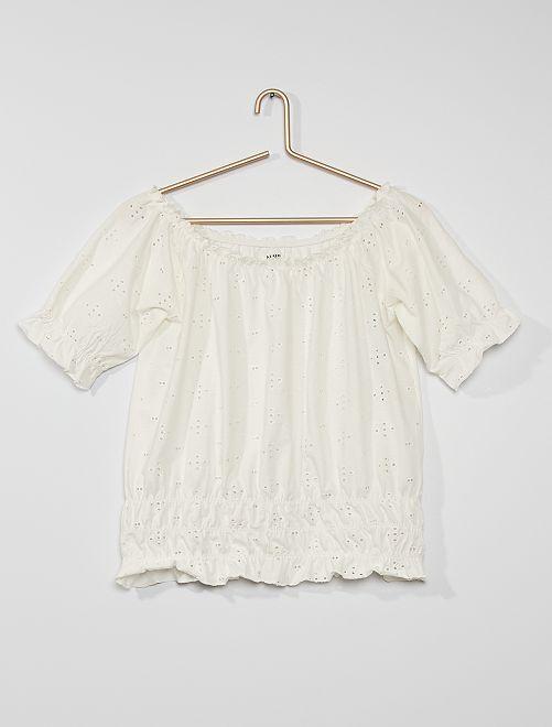 Camiseta con bordado inglés                                                     blanco nieve