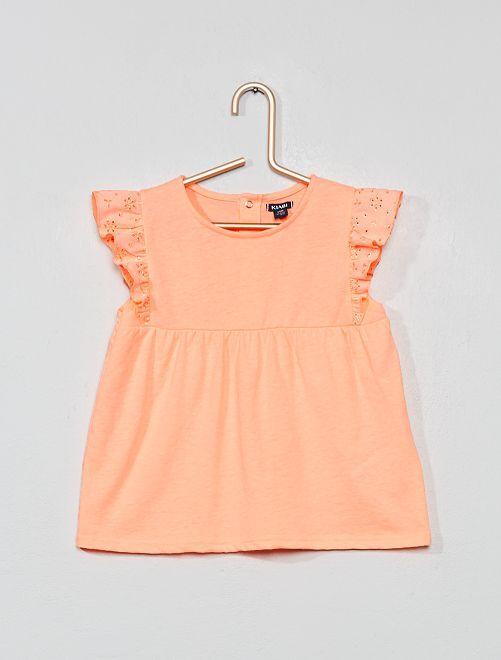 Camiseta con bordado inglés                             NARANJA Bebé niña