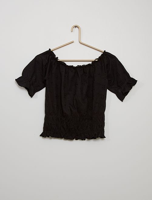 Camiseta con bordado inglés                                         negro