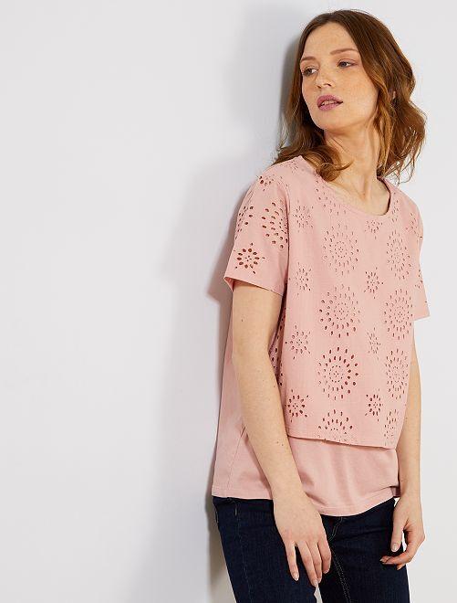 Camiseta con bordado inglés                                                                 PURPURA Mujer talla 34 a 48
