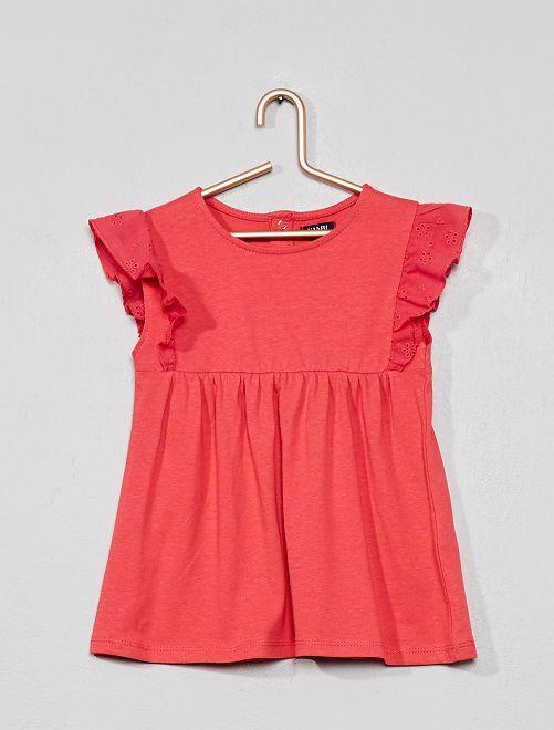 Camiseta con bordado inglés                     ROJO Bebé niña