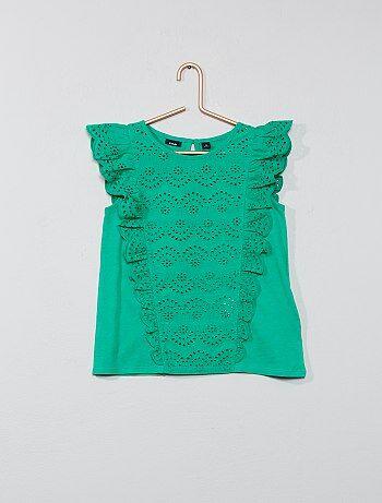 9c565631040 Niña 3-12 años - Camiseta con bordado inglés - Kiabi