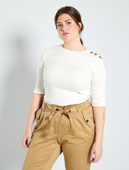 Camiseta con botones en el hombro                                         blanco nieve
