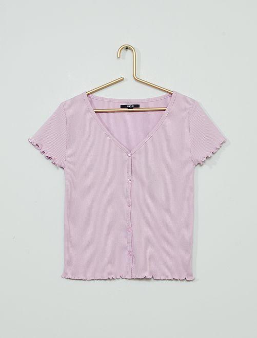 Camiseta con botones                                         malva claro