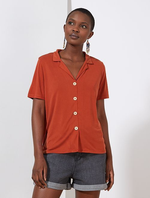 Camiseta con botones                                         rojo ocre