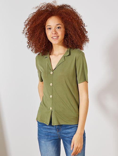 Camiseta con botones                                         VERDE Mujer talla 34 a 48