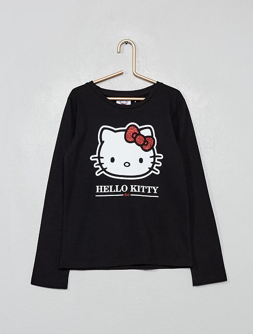 Camiseta con brillos 'Hello Kitty'                             negro