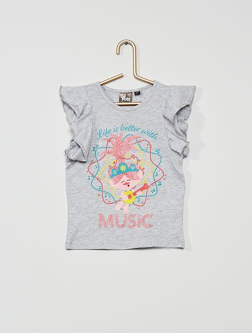 Camiseta con brillos 'Trolls'                             gris