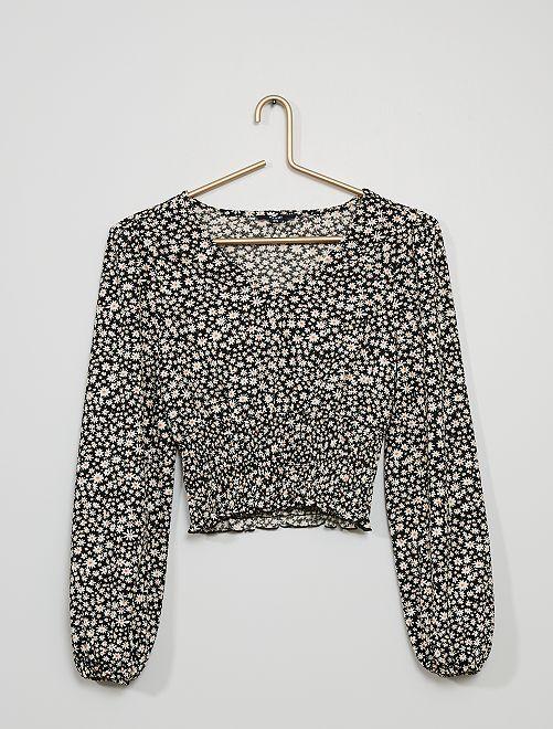 Camiseta con cintura fruncida                                         NEGRO