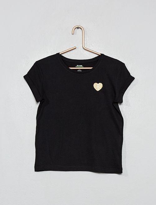 Camiseta con corazón 'eco-concepción'                                                                 negro