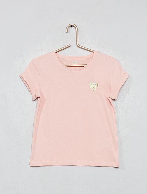 Camiseta con corazón 'eco-concepción'                                                                 ROSA