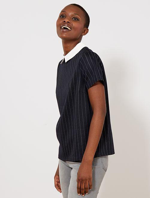 Camiseta con cuello bebé                                         AZUL Mujer talla 34 a 48
