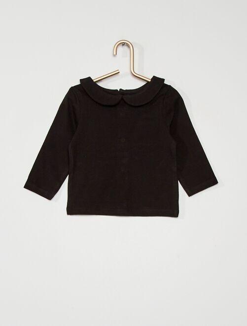 Camiseta con cuello bebé eco-concepción                                             negro