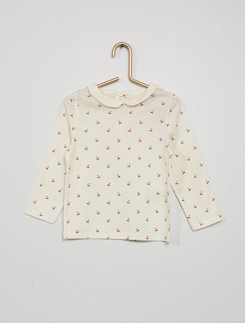 Camiseta con cuello bebé y estampado de 'cerezas'                                                                                         BLANCO