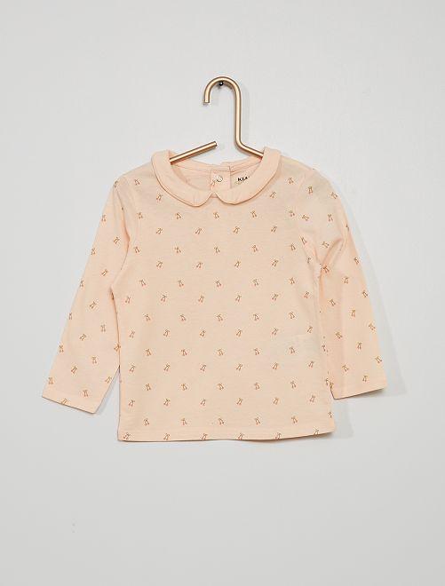 Camiseta con cuello bebé y estampado de 'cerezas'                                                                                         ROSA