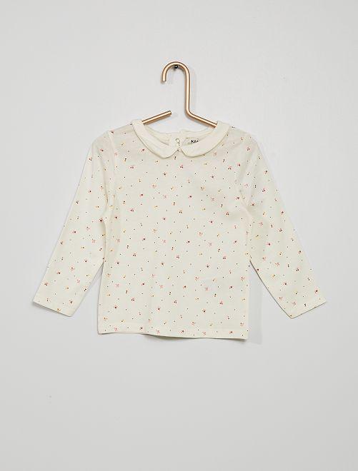 Camiseta con cuello bebé y estampado de 'florecitas'                                                                                         BLANCO