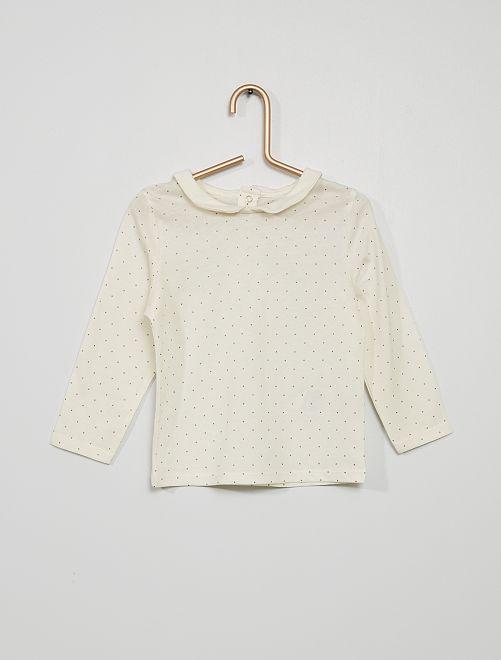 Camiseta con cuello bebé y estampado de 'lunares pequeños'                                                                                         BLANCO