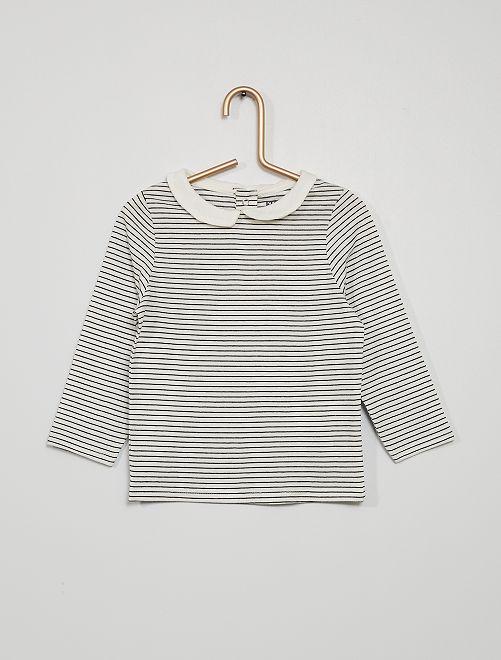 Camiseta con cuello bebé y estampado de rayas                                                                                         AZUL