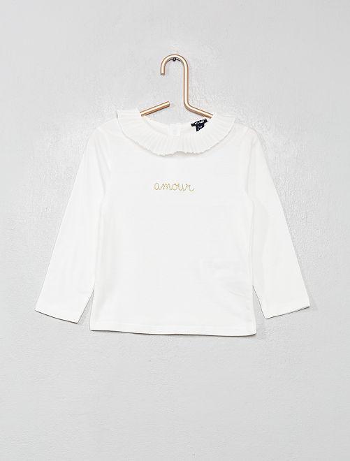 Camiseta con cuello con volante                             BLANCO
