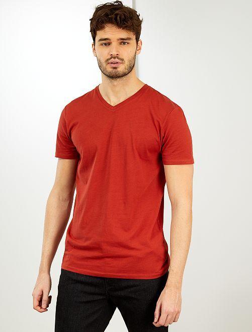 Camiseta con cuello de pico +1,90 m                                                                                         naranja oscuro