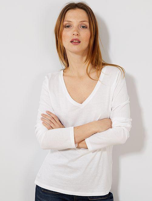 aac74d7eebe2a Camiseta con cuello de pico Mujer talla 34 a 48 - Kiabi - 4