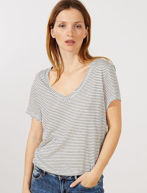 e5926c535 Camiseta con cuello de pico Mujer talla 34 a 48 - BLANCO - Kiabi - 5