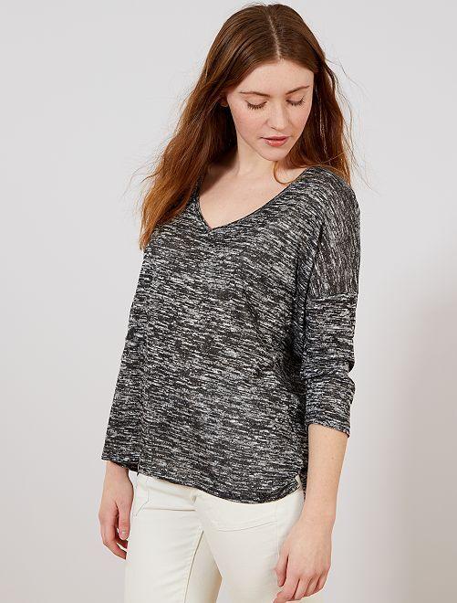 Camiseta con cuello de pico de punto fino                                         GRIS Mujer talla 34 a 48