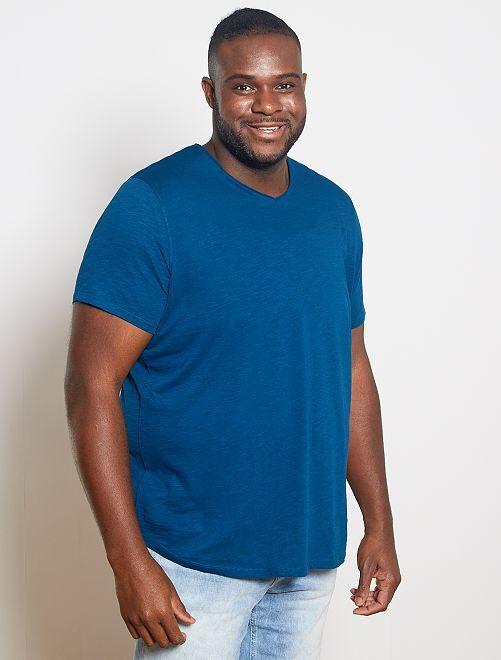 Camiseta con cuello de pico eco-concepción                                                                 azul poseidon