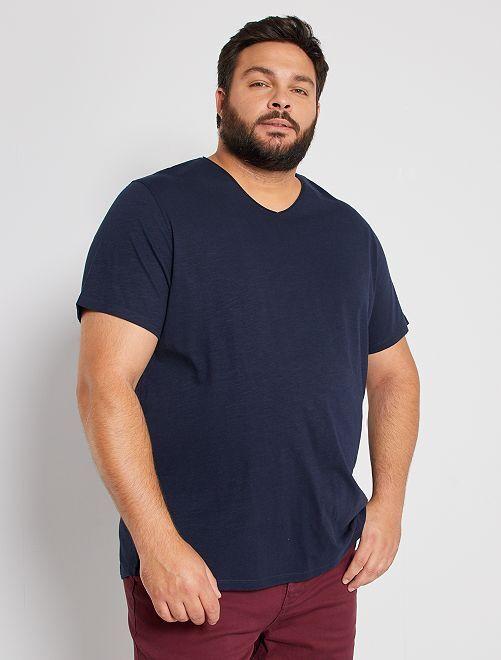 Camiseta con cuello de pico eco-concepción                                                                             AZUL