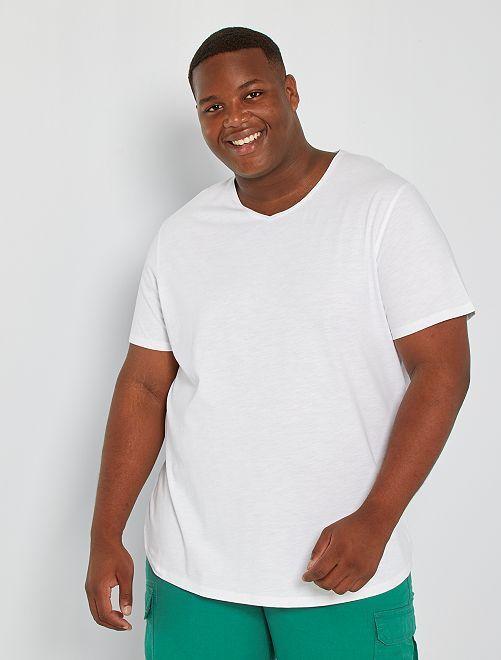 Camiseta con cuello de pico eco-concepción                                                                                                         blanco