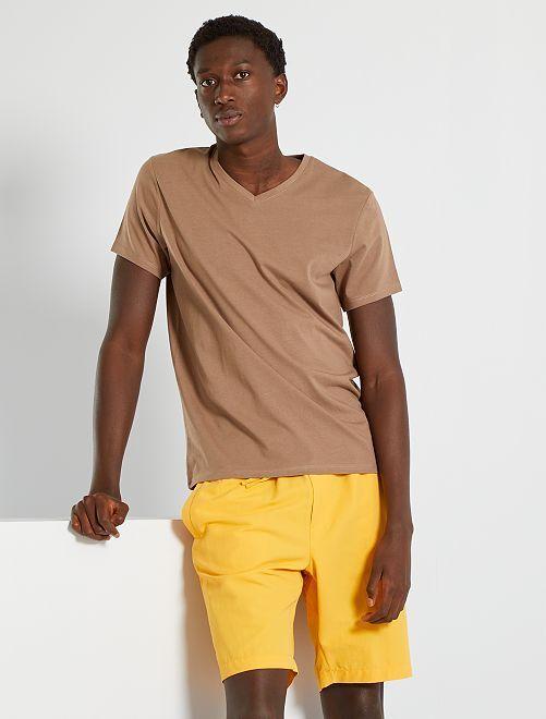 Camiseta con cuello de pico eco-concepción                                                                                                                                                                                                                                                     gris beige