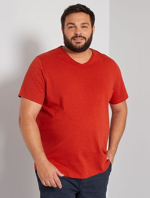 Camiseta con cuello de pico eco-concepción                                                                             naranja ketchup
