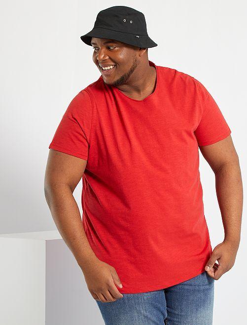 Camiseta con cuello de pico eco-concepción                                                                                                                 rojo bombero