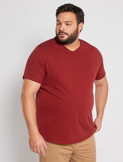 Camiseta con cuello de pico eco-concepción                                                                             ROJO