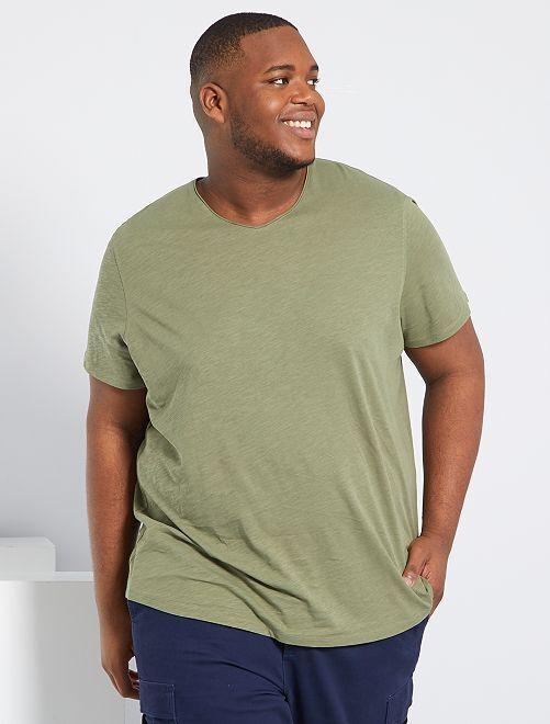 Camiseta con cuello de pico eco-concepción                                                                             verde liquen