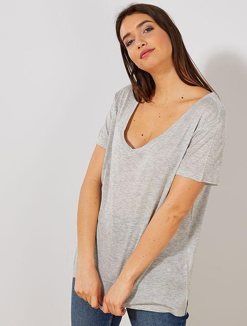 8d94c6b33 Camiseta con cuello de pico Mujer talla 34 a 48 - GRIS - Kiabi - 5