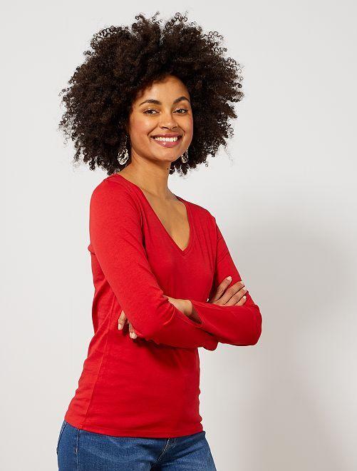 Camiseta con cuello de pico                                                                                                     ROJO Mujer talla 34 a 48