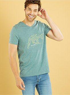 Hombre Camiseta con cuello de pico y estampado 'naturaleza'